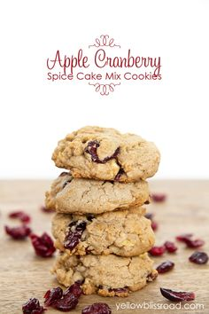 Cranberry Apple Spice Cake Mix Cookies - Yellow Bliss Road