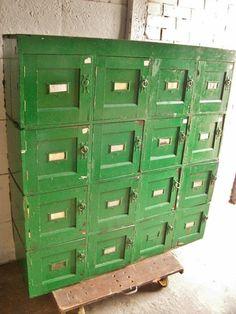 Vintage Old School Industrial Wooden Locker Cabinet | eBay