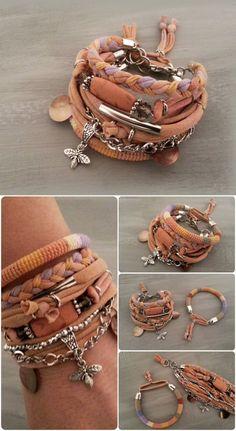Gypsy Bracelet Set Ochre Bracelets Bohemian Bracelets Hippie Style Indie Jewelry Layering Bracelets Bee Charm Bracelet (27.00 USD) by vanessahandmade: