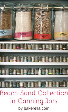 Beach sand collection in canning jars by Bakerella. Dozens of jars with sand from beaches from around the world displayed on a shelves. Featured on Completely Coastal. Sand Collection, Sand Art, Seashell Crafts, Bottles And Jars, Canning Jars, Displaying Collections, Coastal Decor, Google Images, Sea Shells
