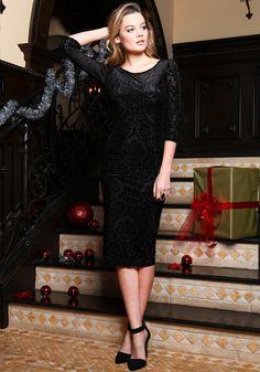 Velvet Devoré Midi Dress, BLACK, large
