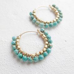 Aretes de turquesa Boho estilo K14gf por Holidayjewelrystore