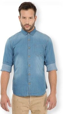 6386e3e9efe HIGHLANDER Men s Solid Casual Blue Shirt Fit  Slim Fit Suitable For   Western Wear Sleeve