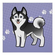 Cartoon Siberian Husky / Alaskan Malamute Print