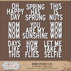 Word Stacks v.01 - Peppermint Creative #pocket #projectlife