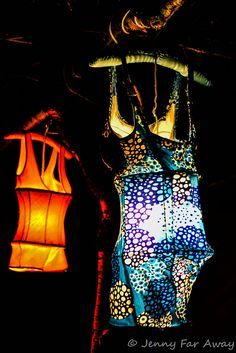 These are some of my retro swimsuit lampshade creations for the coromandel Illume Festival