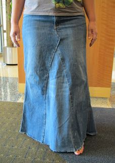 Mighty Distractible: 1970s Fashion Flashback! DIY denim skirt made from pairs of jean pants
