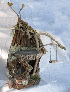 curly willow fairy house created with all wood