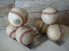 Baseball Vintage Book Ends.  would look super cool in boy's room!