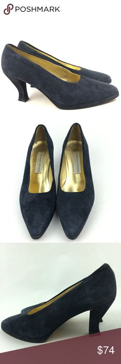 Vtg Tiziano Ross Heels Sz 8.5 Suede Made In Italy Vtg Tiziano Ross Woman Heels Size 8.5 Navy Blue Suede Made In Italy Leather Sole Heel 3 1/4  N Tiziano Rossi Shoes Heels