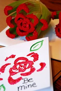 10 Valentine's Day Crafts and Cards For Kids That Are Super Easy Use celery to stamp roses! Valentine's Day Crafts for kids, celery flower stamp to make DIY Valentine's Day cards their friends will love! Kinder Valentines, Valentine Activities, Valentine Crafts For Kids, Valentines Diy, Holiday Crafts, Holiday Fun, Valentine Cards, Kids Crafts, Projects For Kids