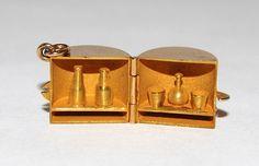 Vintage Gold Charm, Stamped 'Wonder Bar' Opens To Bar