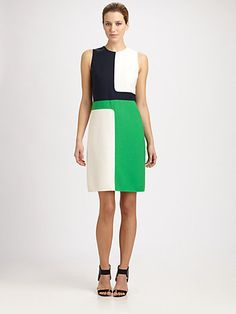 Michael Kors - Geometric Dress - Saks.com    The colorblocking wouldn't be too hard to replicate, and it's a simple shape.  Pattern: Vogue 8667, or any sheath with a higher neck and waist seam.