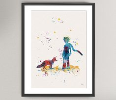 The LITTLE PRINCE Nº5 Watercolor Print - Le Petit Prince and fox Ink Saint-Exupéry Painting Art Print Wall Gift Decor Poster Wall Decor Home