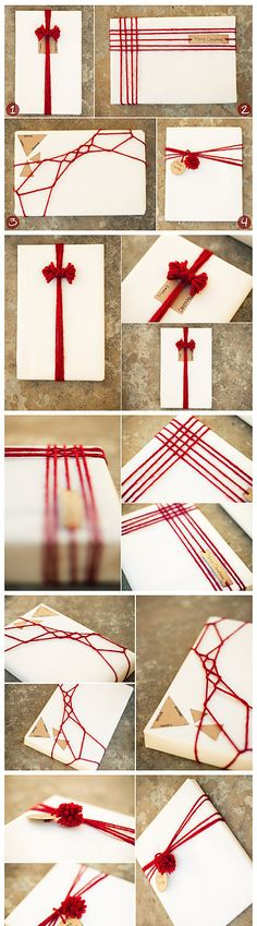 love the different unique designs for decorating/tying up a gift box with string in place of ribbon :D no DIY instructions though :(