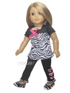 Zebra Top & Pants & Zebra Shoes Doll Clothes Made for 18 Inch American Girl