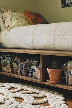 Platform Bed with Storage and Baskets | 14 DIY Platform Beds to Upgrade Your Bedroom