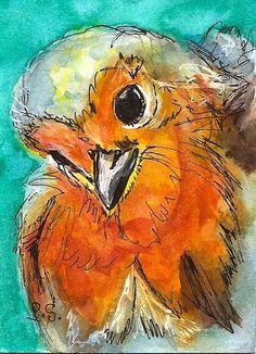 ACEO Cutest Baby Bird Illustration Painting Original WC pen + ink Penny StewArt www.pennyleestewart.com #IllustrationArt