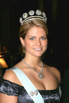 Crown Princess Madeleine of Sweden, Duchess of Hälsingland and Gästrikland, wearing the Six Buttons Tiara. Born in 1982 as Madeleine Thérèse Amelie Josephine. She is the daughter of Queen Silvia of Sweden and King Carl XVI Gustaf. In 2013 she married Christopher O'Neill.