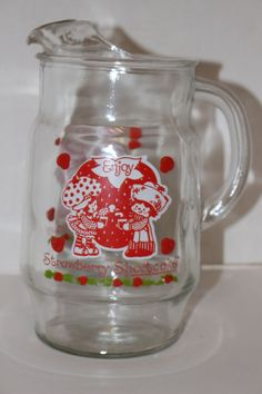 Vintage 1980 Strawberry Shortcake Large Glass Pitcher American Greetings Collectible Kitchen Serving by TresorsEnchantes on Etsy