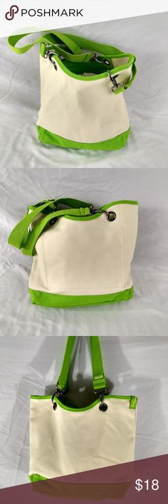 "THIRTY ONE STRONG CANVAS TOTE NEON & CREAM Very ruggedly built canvas tote that is new old stock with no wear from THIRTY ONE.  Very strong canvas.  Removable straps with heavy metal fixtures.  This is an awesome little beach / day outdoors bag.  MEASURES:  13 X 10 X 5 with a 10"" strap drop. Poshmark Bin #3 (SP) Thirty One Bags Totes"