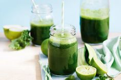 For a healthy kick try this delicious green smoothie made with kale, lime, cucumber and mint.