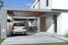 Semi-covered garage modern garages of modern bur zurita architecture Car Porch Design, Garage Design, Patio Design, House Design, Pole Barn House Plans, Pole Barn Homes, Small House Plans, Carport Sheds, Carport Garage
