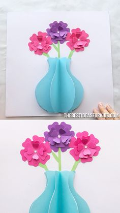 Kids Crafts PAPER FLOWER CARD 🌸 -such a fun paper craft for kids! Great for a Mother's day craft for kids too. Mothers Day Crafts For Kids, Fathers Day Crafts, Paper Crafts For Kids, Diy Arts And Crafts, Jar Crafts, Creative Crafts, Preschool Crafts, Paper Crafting, Craft With Paper