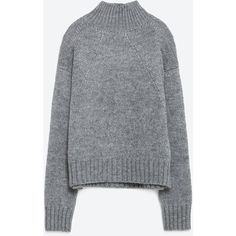 Zara Sweater With Turtle Neck ($40) ❤ liked on Polyvore featuring tops, sweaters, shirts, jumpers, grey, turtleneck tops, turtleneck shirt, zara sweater, shirt sweater and grey turtleneck