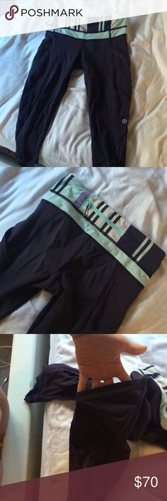lulu lemon leggings barely worn cropped lulu leggings. perfect for working out, wearing around the house, or to school/work. slightly see throughish around the bottom and have handy side pockets love love love these lululemon athletica Pants Leggings