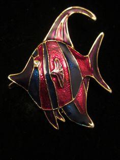 "Cool Vintage 2-1/4"" Gold Tone Enamel Angel Fish Brooch A68"