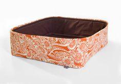 Modern Cat Bed in orange cream paisley