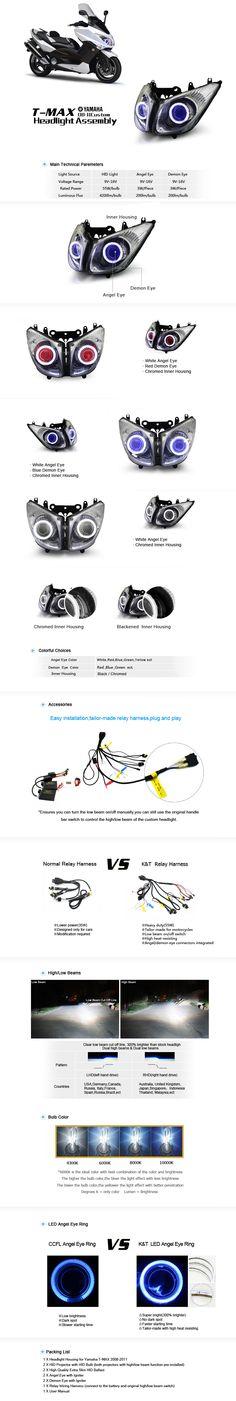 Yamaha TMAX  HID Projector  Headlight Assembly  2008-2011 http://www.ktmotorcycle.com/custom-headlights/yamaha-custom-headlights/yamaha-t-max/yamaha-t-max-2008-2011.html