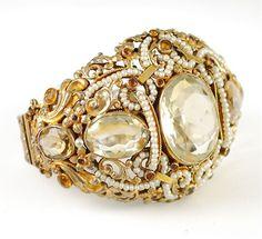 Antique Austro Hungarian Rock Crystal Topaz Pearls Bracelet <3