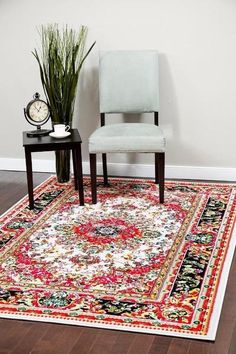 Ivory Red Colorful Oriental Persian Isfahan Area Rugs