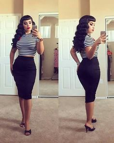 The babe of all babes shows off her ultimate bad girl look in our separates! Both IN-STOCK and ready to ship in sizes XS -… Rockabilly Outfits, Rockabilly Fashion, Retro Fashion, Girl Fashion, Vintage Fashion, Fashion Outfits, Pin Up Fashion, Rockabilly Girls, Rockabilly Style