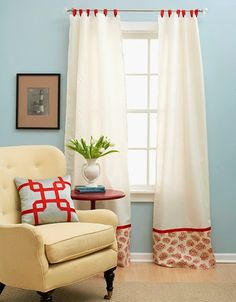 Spruce up inexpensive curtains by adding fancy coastal fabric to the bottom! http://www.completely-coastal.com/2014/03/make-coastal-curtains-customize-diy.html