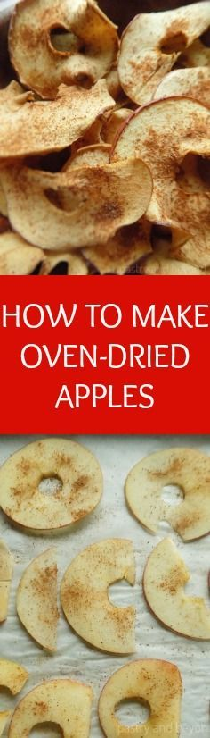 It is so easy to make your dried apples in the oven. Slice your apples very thin, sprinkle cinnamon if you like, and dry in the oven about 1 hour for chewy/crispy dried apples or keep them in the oven for an additional hour if you like them crispy. That's all!