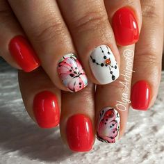 Bright summer nails, Cheerful nails, flower nail art, Juicy nails, Manicure by summer dress, Nails ideas 2017, Polka dot nails, Red and white nails
