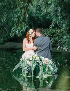 Dreamy lakeside wedding inspiration styled by Alyssia B Photography + Callie Hobbs Photography.  Dress by Maggie Sottero, florals by Flowers by Adrien. See more on Green Wedding Shoes!