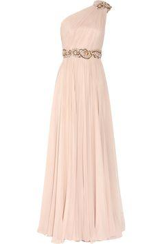 Marchesa Embellished One-shoulder Silk-chiffon Gown in Pink (blush)