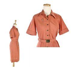 50s-Coral-Orange-Shirtwaist-Dress-Vintage-Casual-Classic-w-Belt-Hey-Viv