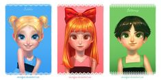 Realistic drawings of cartoon characters: the Power Puff Girls
