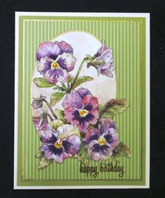 handmade birthday card: Birthday Pansies by hobbydujour ... gorgeous botanical pansies stamped on watercolor paper ... luv how painting with reinkers makes such gorgeous effects ... beautiful card with a touch of gold in the embossed sentiment and Krylon gold paint edging ...