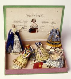 Cover for box that contains the Jenny Lind paper doll with costumes. The cover has a full-length portrait of the singer. The inside cover identifies the ten costumes (in German and English, and showing a three-quarter portrait of Jenny Lind). Vintage Paper Dolls, Vintage Toys, Paper Doll Costume, Jenny Lind, Design Museum, Paper Toys, Antique Toys, Beautiful Dolls, Doll Toys