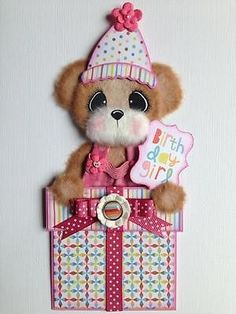 Birthday Present Girl Tear Bear Scrapbook Paper Piece ELITE4U 3PAPERWISHES | eBay