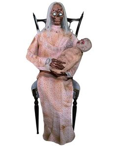 New Spirit prop for today!This is not your average nursery! After a zombie invasion left this nursery haunted, Gruesome Granny was the only person willing and qualified to take care of these little Zombie Babies. For $169.99, Gruesome Granny will scare away anyone that dares to enter this abandoned nursery. This anamatronic prop will be available for pre-sale 8/1 and sold in Spirit Halloween stores in September.