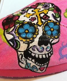Sugar Skulls and Crosses Day of the Dead hand painted on your TOMS DESIGN FEE only by dreaminbohemian on Etsy