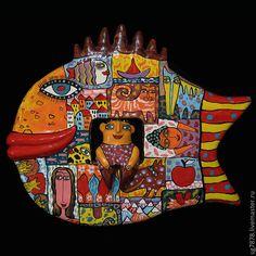 """Панно настенное """"Волшебная рыба"""" - рыба,подарок рыбаку,рыбы,рыбка,панно на стену"""