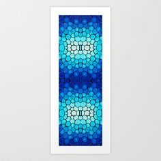 Winter Lights - Blue and White Abstract Mosaic Art By Sharon Cummings Art Print by Sharon Cummings